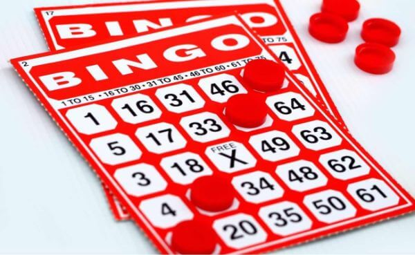 Red 75-ball 5x5 bingo cards with red chips