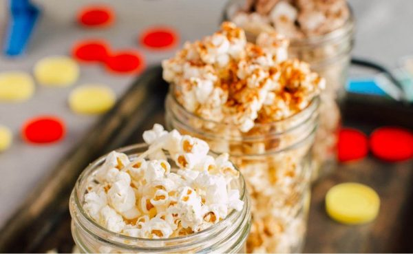 Jars of flavoured popcorn for game night