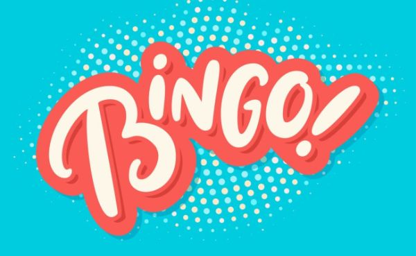 "Vector illustrations of ""Bingo!"" lettering against colourful background"