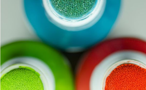 Close Up Shot of the Top of an Orange, Green and Blue Dauber/Dabber