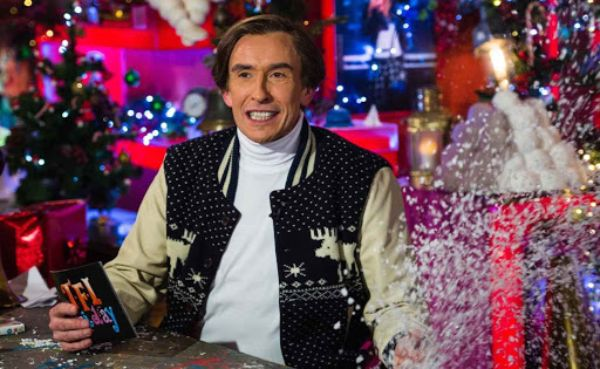"Steve Coogan as Alan Partridge during a live broadcast of ""TFI Friday"" December 2015 in London"