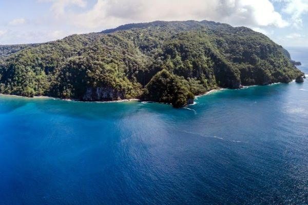 Aerial view of Cocos Island, off the coast of Costa Rica