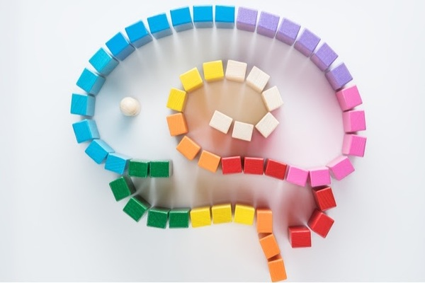 Colourful blocks in the shape of a brain