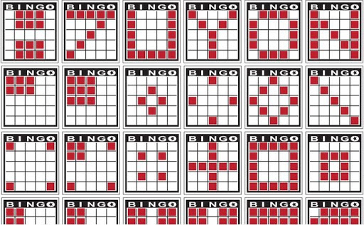 Various bingo patterns on cards lined up