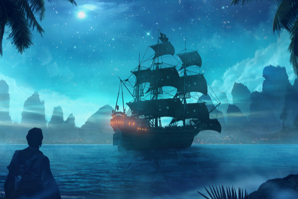 Illustration of a pirate on a beach watching a ship in the bay during a full moon.