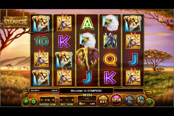 The reel for Betsoft's slot Stampede with the iconic elephant in the centre, surrounded by other animal and card symbols.