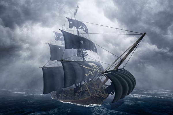 Vector illustration of a pirate ship in the ocean during a storm.